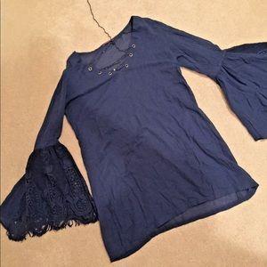 Womens Navy Blue Decorative String Tunic Dress